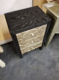 3 drawer black and gold cabinet