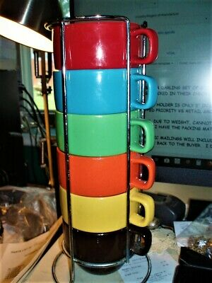 SET OF 6 WORLD MARKET CERAMIC VERY COLORFUL STACKING COFFEE CUPS CHROME CADDY ()