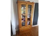 Solid pine display cabinet furniture good condition