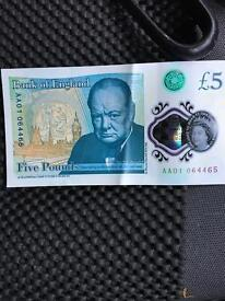 £5 note AA01-064465