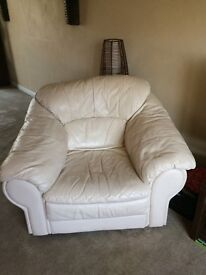 One seater and three seater cream leather sofa - Can be sold seperately or together