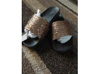 Rose Gold Sliders Size 8