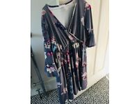 Bluebelle Matenrity dress, size 12, worn twice. Grey with coloured flowers.