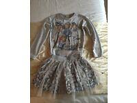 Girls mayroal blue & grey skirt and top