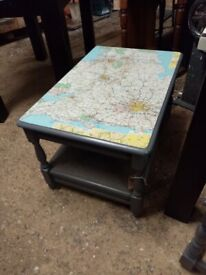 Upcycled map coffee table