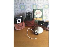 JUST REDUCED!!!!! COLLECTION OF LOVELY OLD CAMERA'S, ORGINAL CASES, FLASH & BOOKLET
