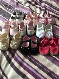 9 Pairs of girls baby shoes