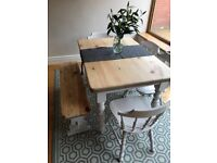 Restored Country Pine Shabby Chic Dining Table Set With Bench Chairs