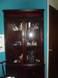 corner display unit dark wood can deliver locally