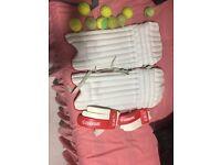 CRICKET PADS, BAT, GLOVE, 9 TENNIS BALLS SET £20 each