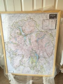 Framed OS Lake District Map