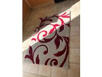 Scholl red and cream rug
