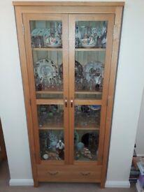 Oak Dunelm glazed bookcase in excellent condition