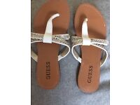 Ladies 'Guess' white and metallic slip on sandal size 2-3