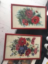 Two vintage crochet framed floral art