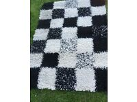 Black and White Checked Rug