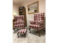 2 x Red and Cream Arms chair and footstool