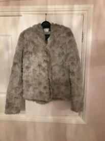 Next grey size 8 fur coat