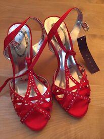 Debenhams ladies red sandals size 4 with label