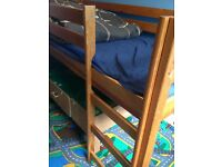 children bed wooden high sleeper with slide and mattress