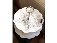 Cake or Cupcake Stand / Etagere Silver & Glass