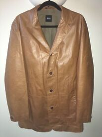 Hugo Boss Calfskin Tan Leather Jacket-Men's size 44r