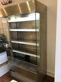 Stainless merchandiser fridge for drinks sandwiches shop commercial
