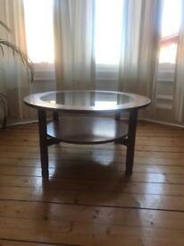 Vintage teak glass coffee table