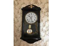 Mahogany finish pendulum wall clock