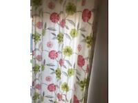 """Dunelm white/ pink/ green/ grey floral patterned curtains - 66"""" x 90"""" (pair) Very Good Condition"""