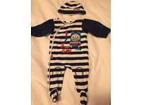 Thomas the tank engine sleepsuit and hat 3-6 months.