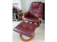 Red Leather Swivel Chair & Foot Stool