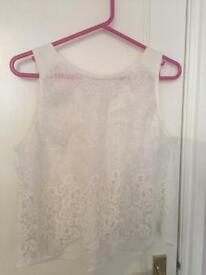 Ladies white lace top size large