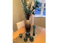 Teal green decorations - vase, candle, flowers etc