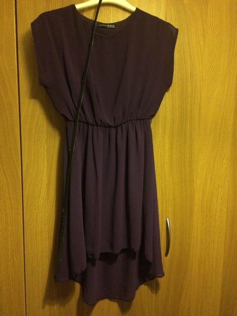 Purple dress with black belt size 12in County AntrimGumtree - Floaty dress. Comes to just above the knee and slightly longer at the back. Worn once