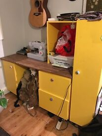Yellow wood desktop surface