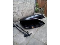 Large Halfords Roof Box With Roof Bars