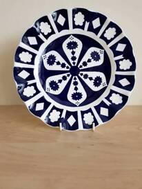 Royal crown derby china unfinished imari fluted edege plate vgc