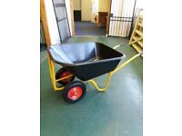 Plastic twin wheeled tipper barrow 140L
