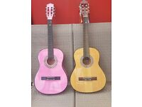 2 x Acoustic 3/4 Guitars with footstool & cases