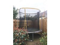"Trampoline, measure 96""/244cm across. 4 years old, bit tatty, small hole (see picture)"