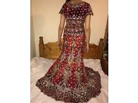 Red lengha. Only worn for four hours. Size 8