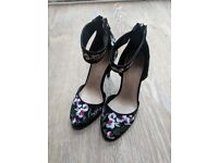 Black embroidered high heels - Never worn - New last Christmas from Next - Size 4 / 37