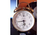 VINTAGE German wind up alarm table clock with twin bells, brass Jerger clock, 1960s Edinburgh