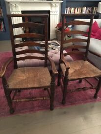 Pair of antique high backed carver chairs