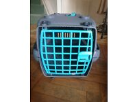Plastic grey cat carrier and free pet bed