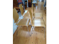 IKEA 'Gilbert' dinning chairs x 4, oak and chrome finish, as new. Will stack, buyer collect..