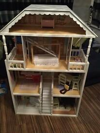 Full size wooden dolls house with accessories