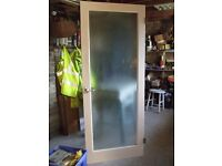 White wooden painted door with patterned glass inset, size 1965mm x 7mm