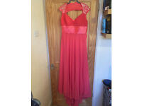Coral full length bridesmaid dress